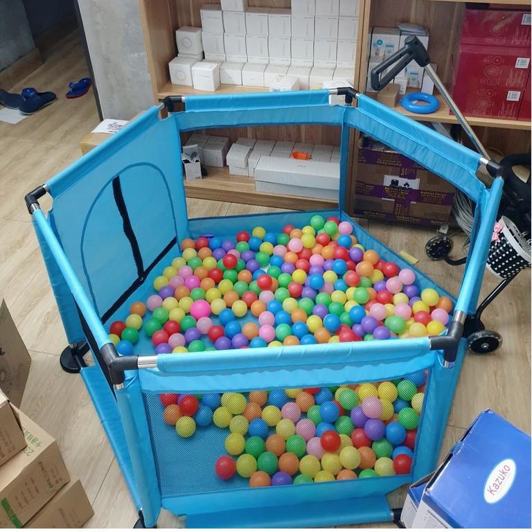 Cũi quây khung inox an toàn vui chơi cho bé kèm 10 bóng - GDTRONGL3