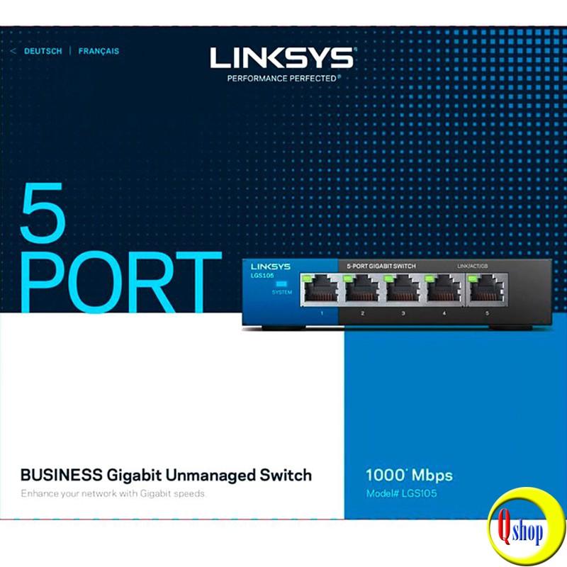 Bộ Chia Mạng Switch 5 Cổng Linksys LGS105 Tốc Độ 10/100/1000Mbps - Hàng Chính Hãng