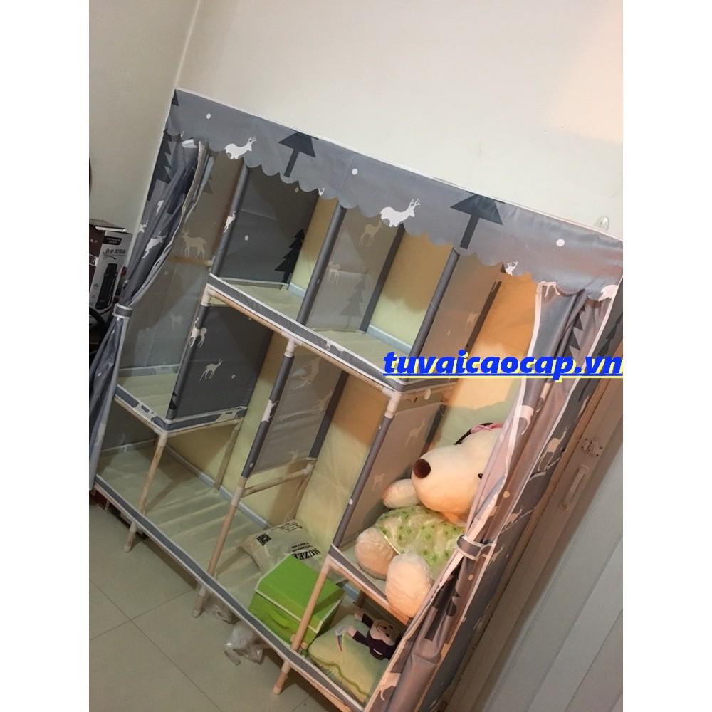 Tủ vải khung gỗ BỌC NHỰA buồng cao cấp, tủ đựng quần áo tiện lợi, chất liệu gỗ tự nhiên