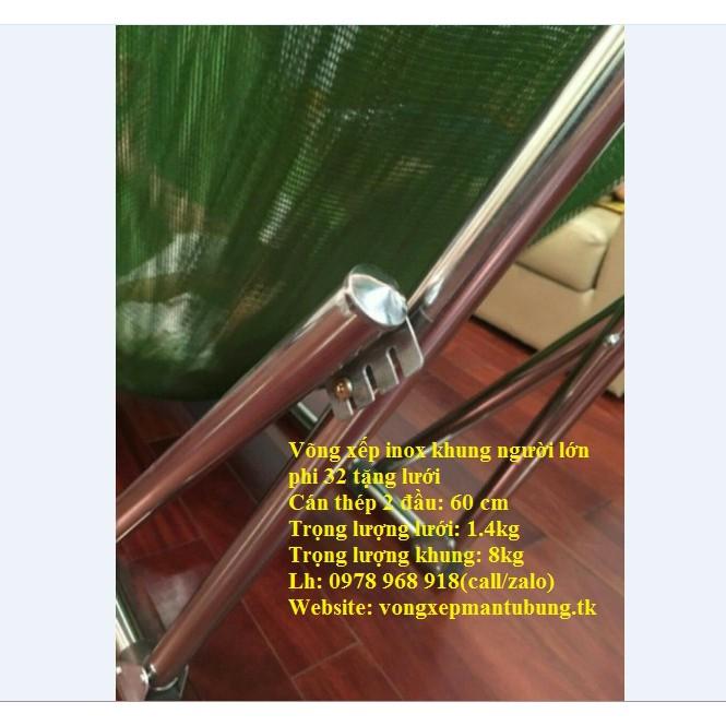 Võng Xếp Khung Inox Phi 32 Kèm Lưới Võng Cỡ Đại