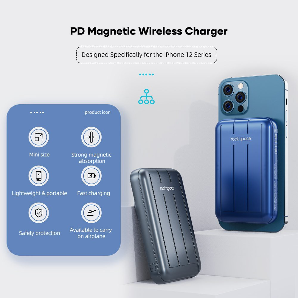 Pin sạc dự phòng không dây Magnetic Wireless Rockspace P99 sạc nhanh, chuẩn PD cho iPhone và androind - Hàng chính hãng, Đen