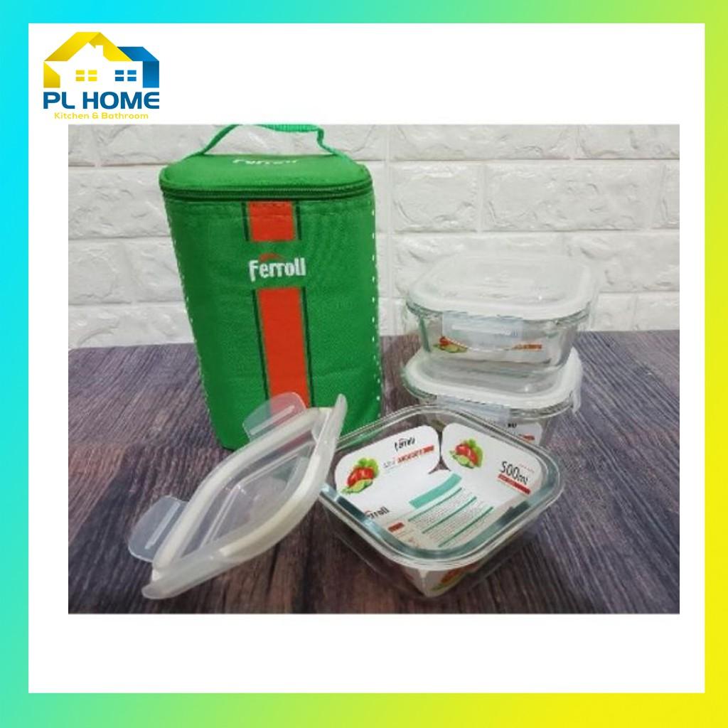 [Hàng mới về] Bộ hộp cơm 3 hộp thủy tinh chịu nhiệt Ferroli, đựng cơm văn phòng, tặng kèm túi giữ nhiệt