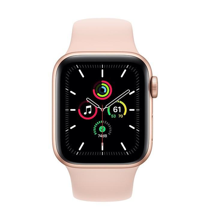 Apple Watch SE 40mm (GPS) Viền Nhôm Vàng - Dây Cao Su Hồng [Mã Mỹ]