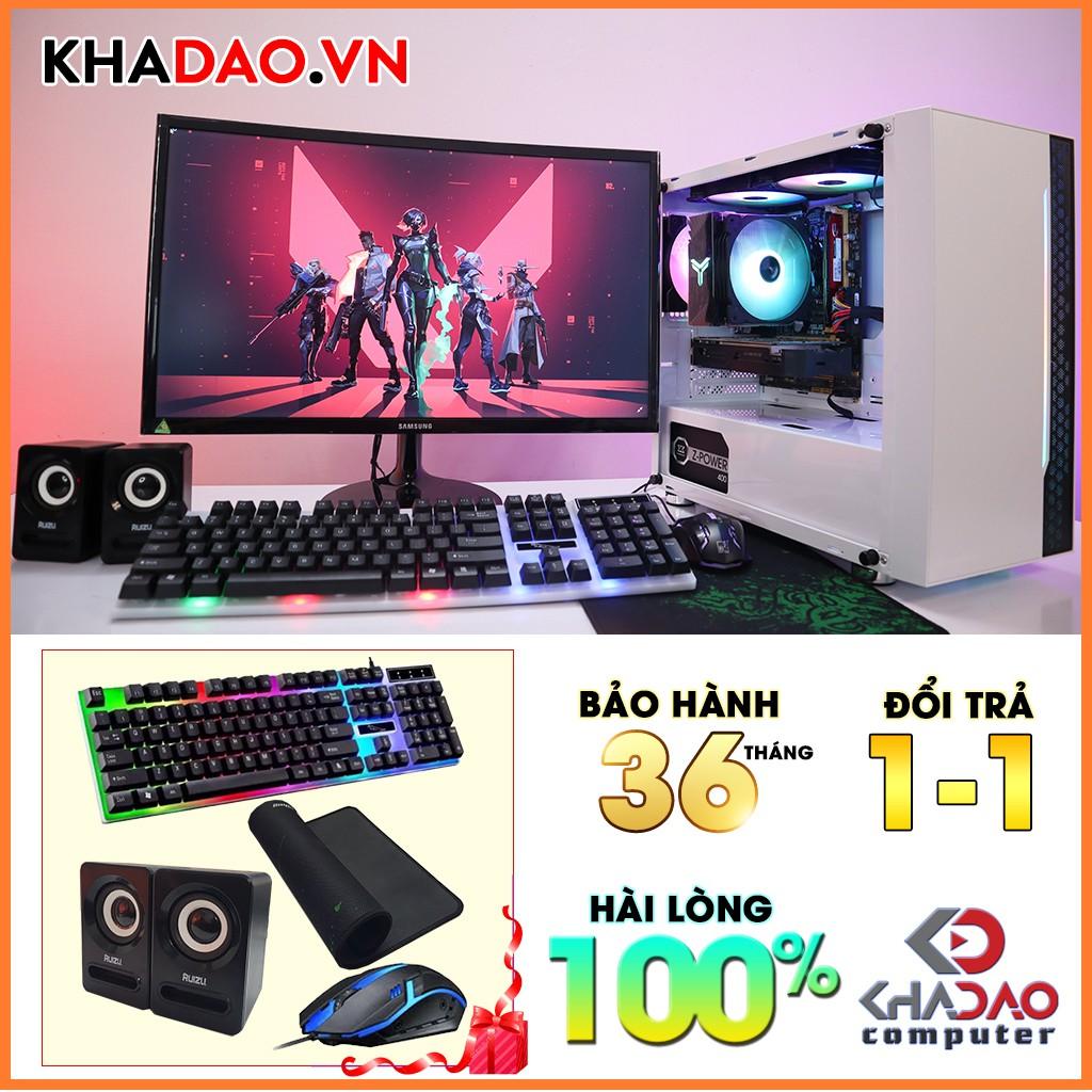 Máy tính chơi game Core I5 + màn hình 24'' Full HD CSGO, PUBG, FiFa 4, Dota 2| BH 36 tháng, tặng phím chuột, pad, loa