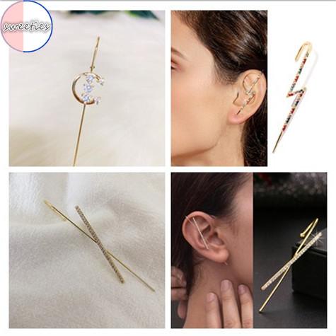 Khuyên xỏ vành tai đính đá phong cách thời trang cho nữ