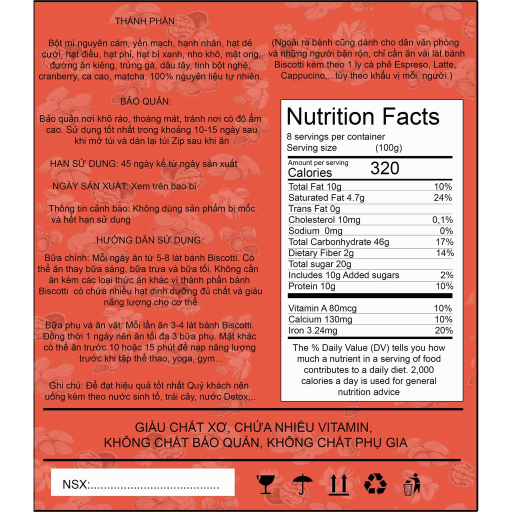 100gr Biscotti Lộc Lá Healthy vị Dâu Tây ,7 loại ngũ cốc không đường, không chất bảo quản, 100% lúa mạch nguyên cám