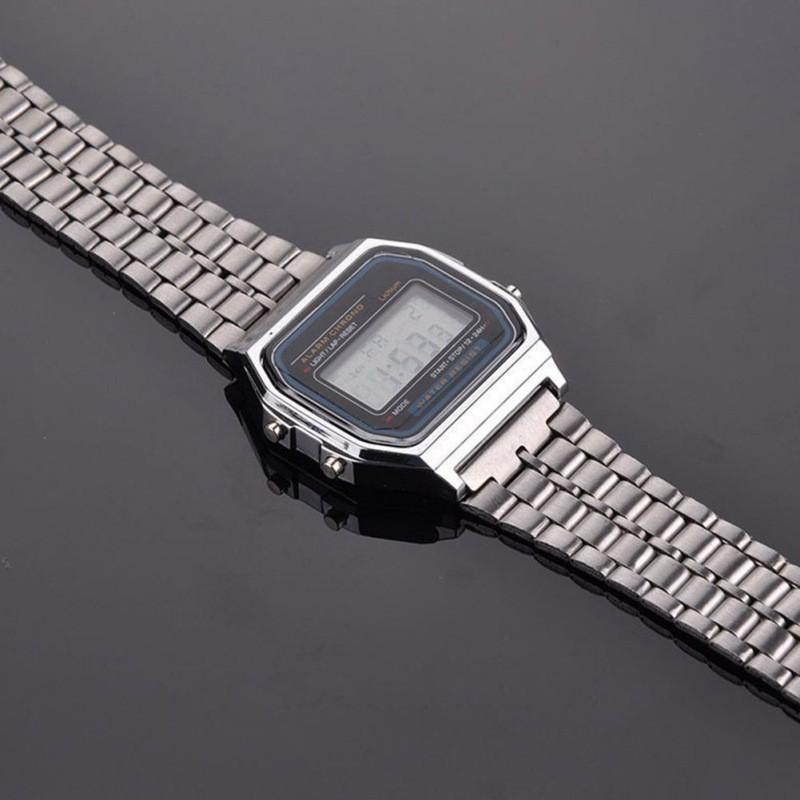 [Baywellfashion]Đồng hồ LED điện tử dây thép không gỉ phong cách Retro cho nam
