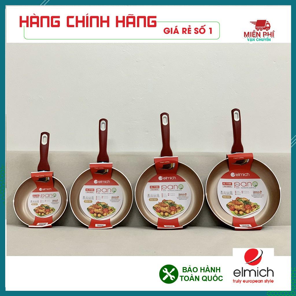 4 Mẫu chảo chống dính Elmich bán chạy nhất, chảo chống dính sâu lòng màu đỏ Elmich, dùng cho mọi loại bếp