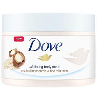Sữa tắm tẩy tế bào chết Dove Exfoliating Body Polish Body Scrub Macadamia & Rice Milk 298g (Mỹ)