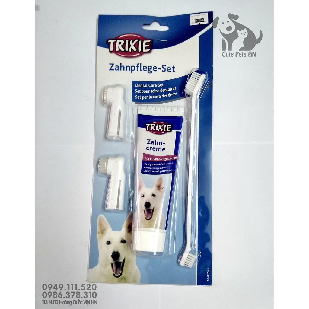 Kem đánh răng cho chó TRIXIE Zahnpege Set 100g kèm bàn chải - CutePets phụ kiện chó mèo pet shop