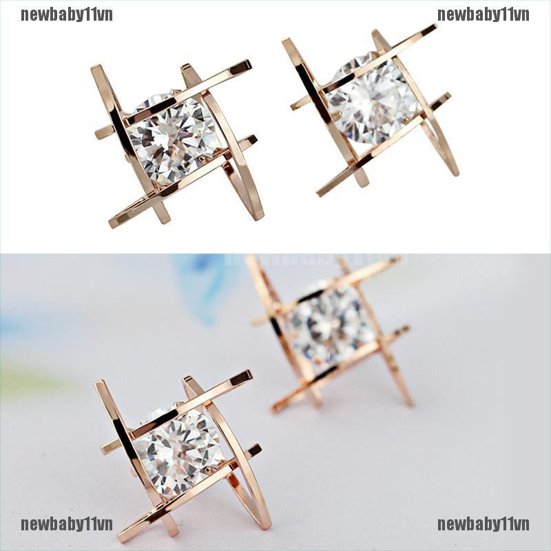 Women Lady Triangle Crystal Rhinestone Ear Studs Silver Gold Earrings Baby1