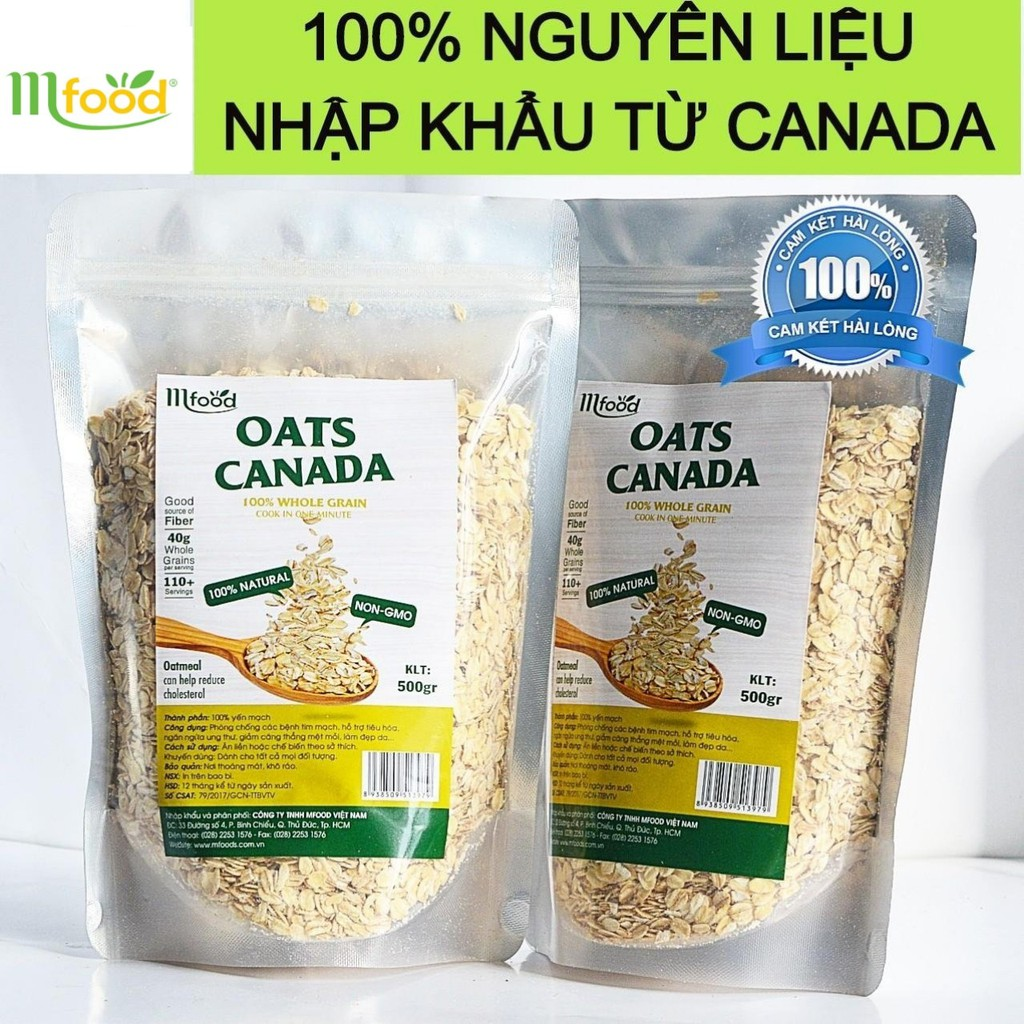 Yến Mạch Tươi Canada Oats 100% Chính Hãng ( Nguyên Hạt ) túi 500g