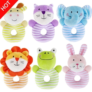 vlth0e Baby Rattle Soft Cotton Ring Bell Toy Cute Animal Shape for Kids Infant Newborns