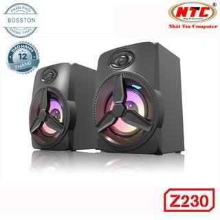 Loa vi tính 2.0 cao cấp Bosston Z230 12W led RGB 7 màu Âm thanh cực hay (Đen) - Hãng phân phối chính thức