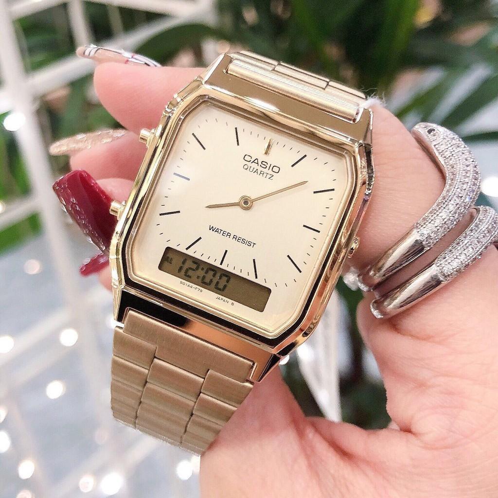 Đồng hồ nam Casio AQ-230GA-9DMQ Chính hãng - Dây kim loại - Mạ Vàng cao cấp