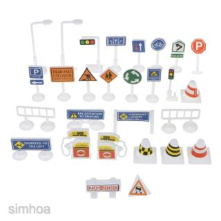 28pcs Block Play Traffic Signs – Children's Educational Toys Kids Block Play