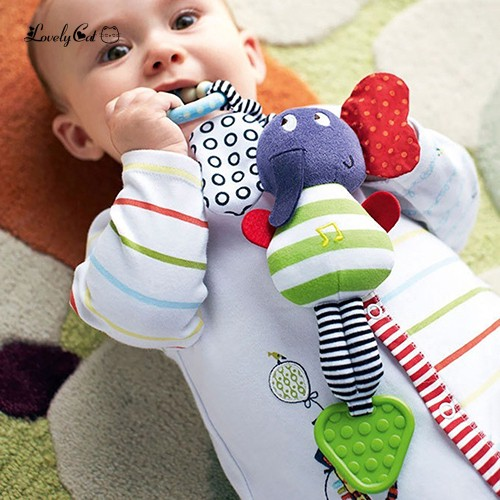 Baby Handbell Rattle Bed Bell Stroller Toy Teether Gift