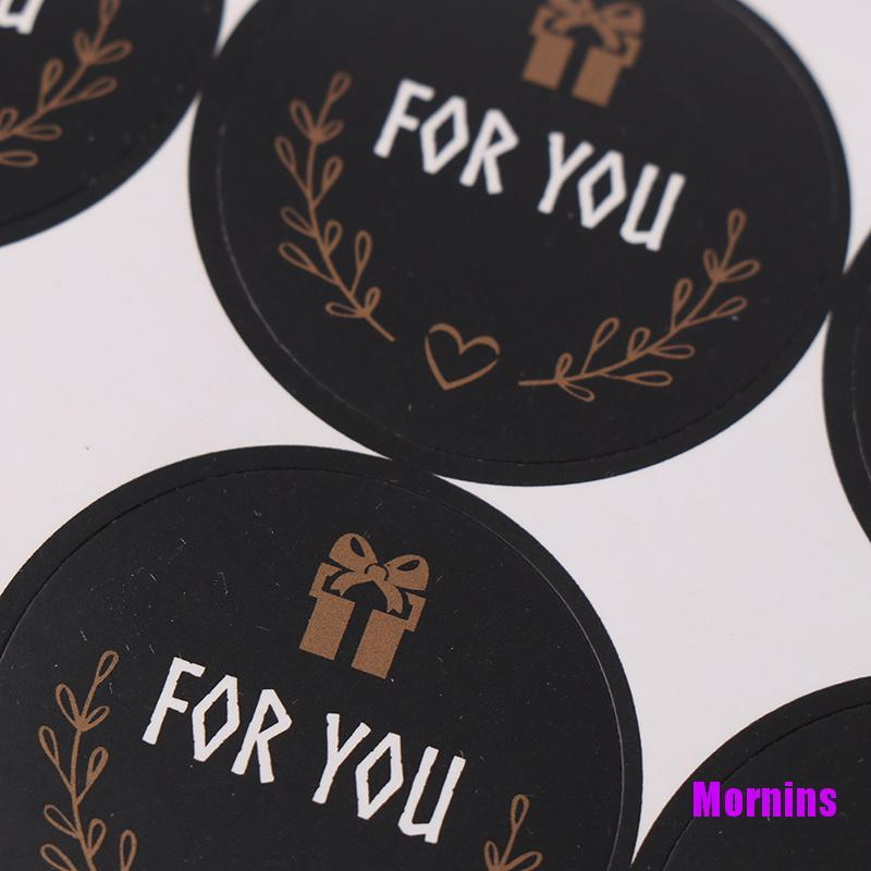 Mornin☪120pcs For you Seal Sticker Round Black Seal Sticker Package Labels for Baking