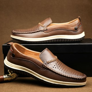 Giày lười da thật mùa hè đẳng cấp Manzano mặt đục lỗ lazer thoáng khí M88002