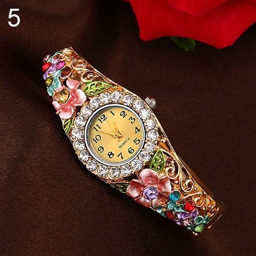 Đồng hồ đính đá trang trí hình hoa và lá cho nữ
