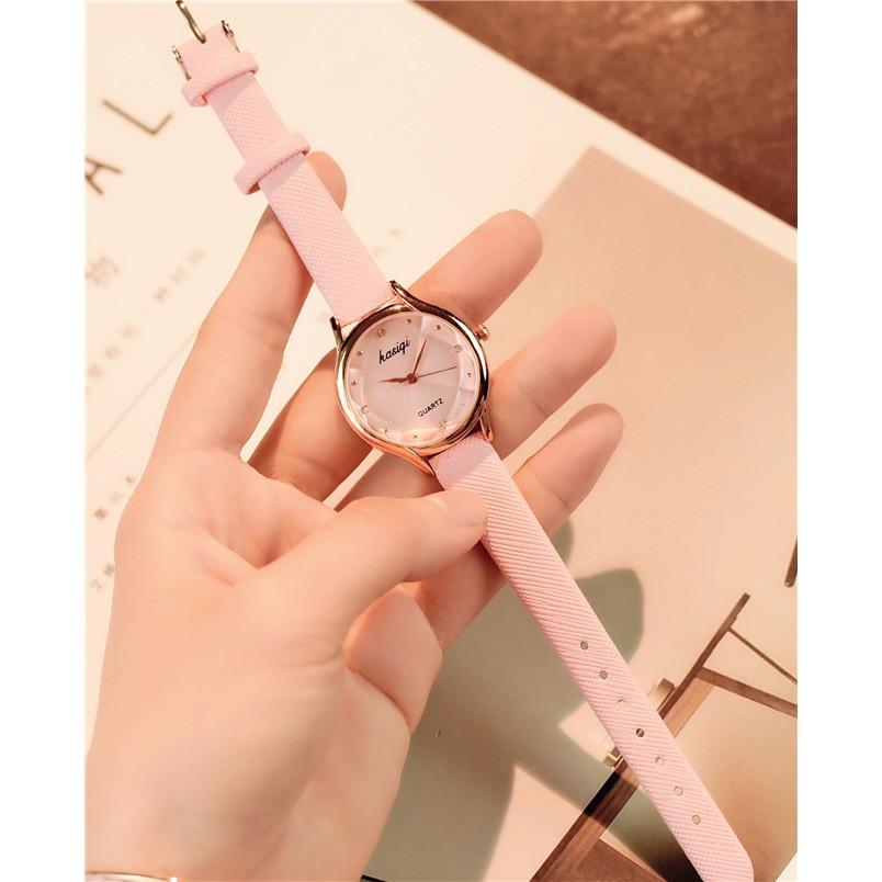 Đồng hồ Nữ dây da KASIQUI dây da màu hồng siêu xinh xắn.