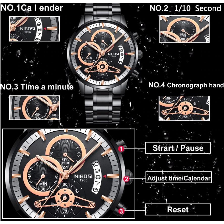 Đồng hồ nam NIBOSI 1985 chính hãng, dây thép đúc, dạ quang tuyệt đẹp, máy nhật chạy full kim ( Mã: NI332 )