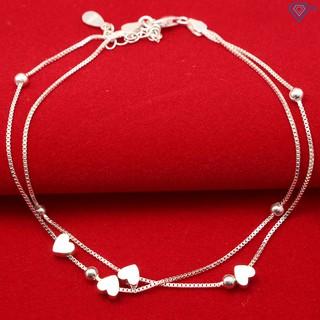 Lắc chân bạc nữ đẹp, giá rẻ dây kép hình trái tim LCN0030 - Trang Sức TNJ