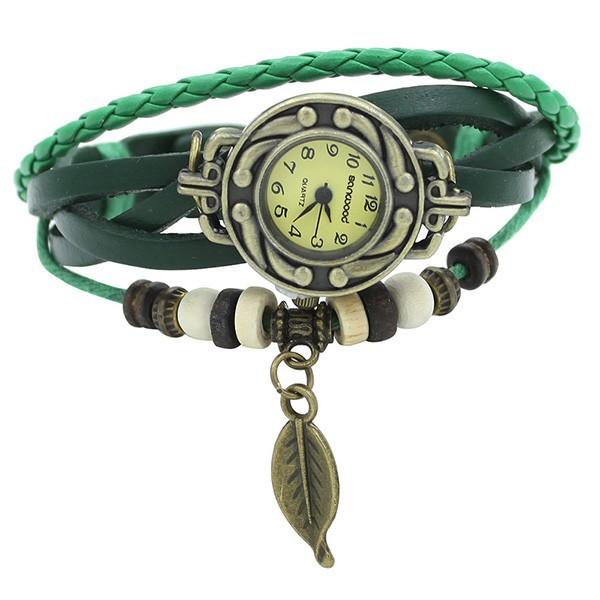Đồng hồ dây đeo da đính lá trang trí cho nữ