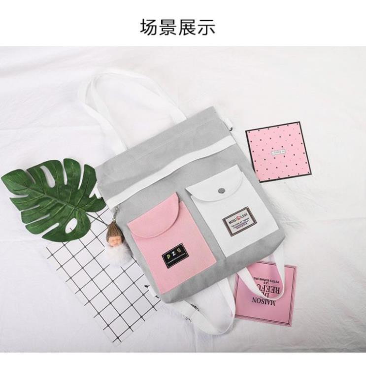 Túi tote vải kiêm balo phối túi hộp móc khóa Babi TX92