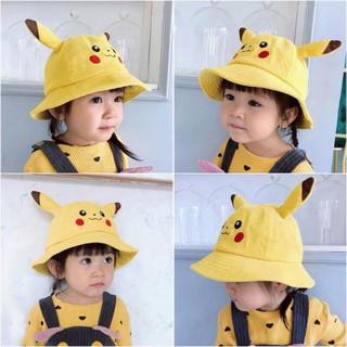 Mũ Nón Maruko 3D Rộng Vành Picachu Bucket Hat Ulzzang Kaki Nhung Siêu Cute