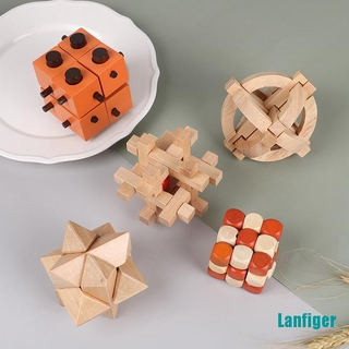 【Lanfiger】IQ Brain Teaser Kong Ming Lock 3D Wooden Interlocking Burr Puzzles Game Toy