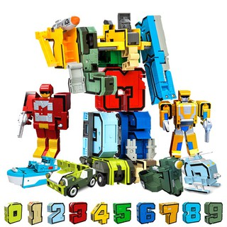 Bettertogether:Kids Numbers Assembling Blocks Team Transformers Robot Toy