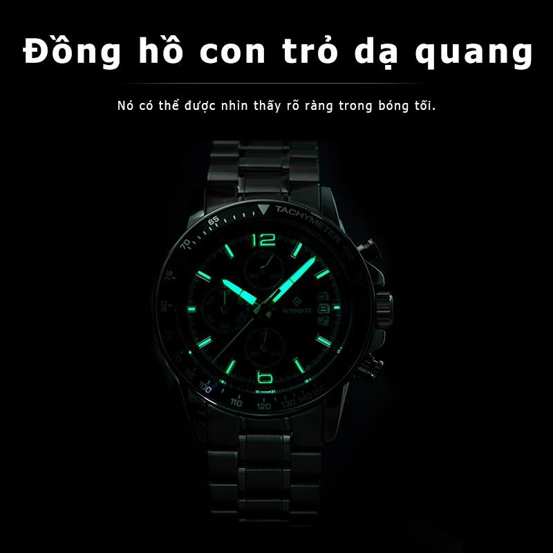 Đồng hồ thể thao quartz có dây đeo bằng thép không gỉ chống nước đa năng cho nam