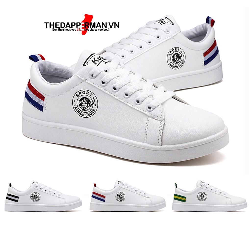 Giày thể thao sneaker nam THEDAPPERMAN TDM7635 chất liệu da, đế cao su nhiệt, siêu êm, phù hợp chạy bộ, màu trắng gót đỏ