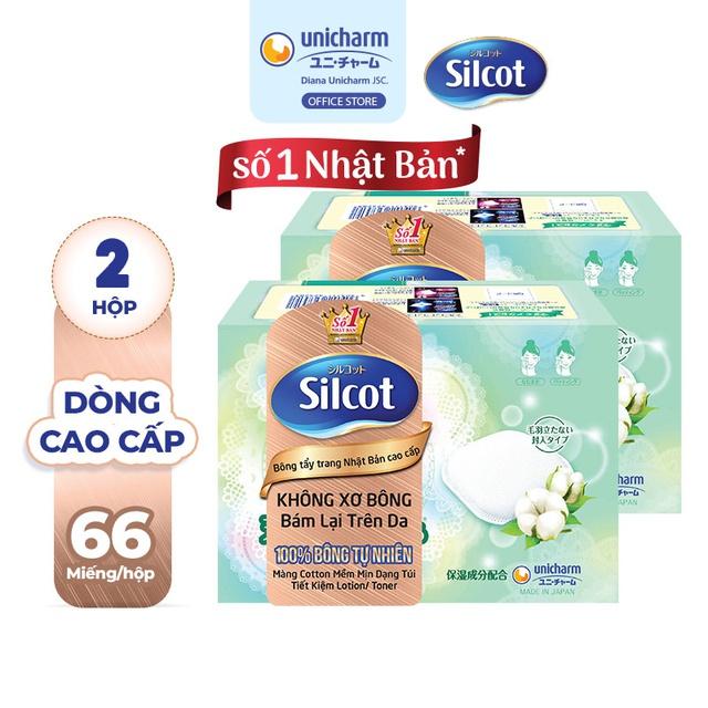 Bộ 2 hộp Bông trang điểm (bông tẩy trang) cao cấp Silcot Premium 66 miếng/hộp