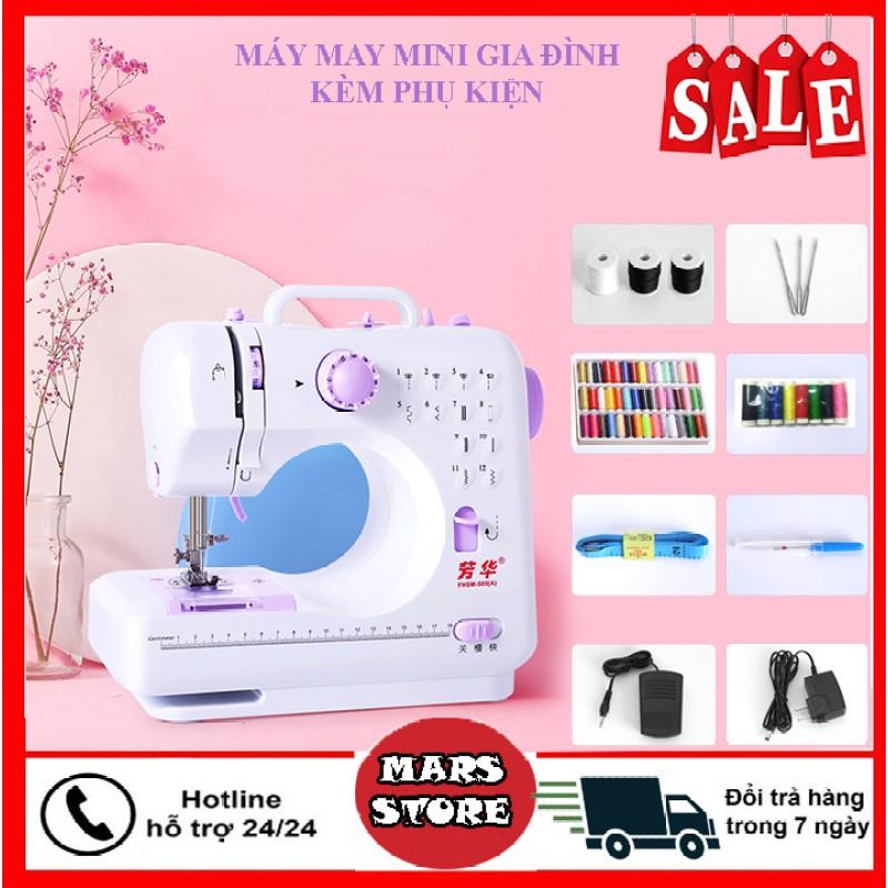 Sale Máy may mini, Máy khâu gia đình - Máy may mini gia đình 12 kiểu may FHSM 505A đầy đủ phụ kiện kèm theo