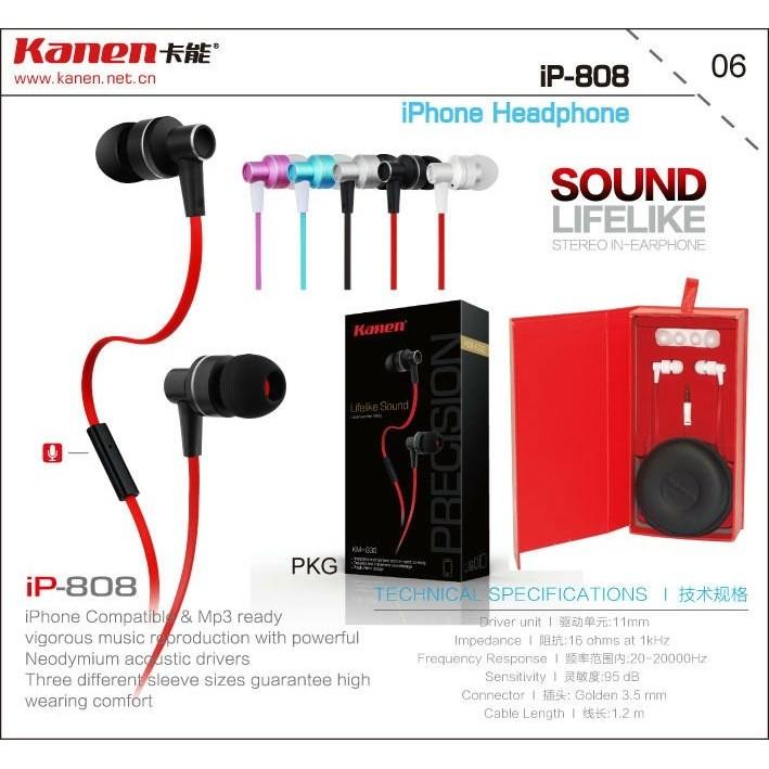 Tai nghe iphone Kanen IP808 hàng hiệu chính hãng