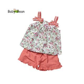 Đồ Bộ Cotton Hoa Bản Dây Gắn Nơ xinh xắn bé gái BabyBean