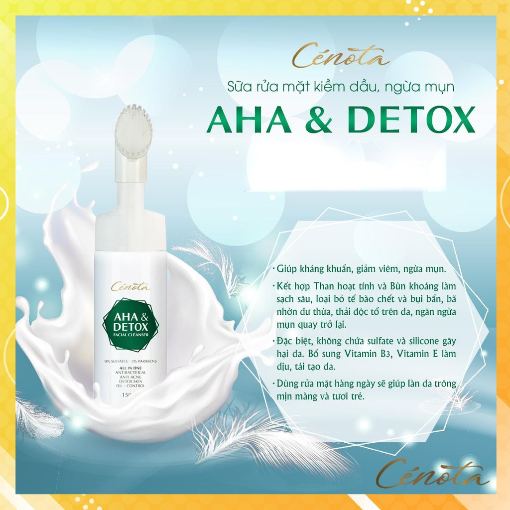 Sữa rửa mặt Aha & Detox facial cleanser 150ml, sữa rửa mặt giúp tạo bọt, kiềm dầu, ngăn ngừa mụn hiệu quả C04 Kagawa