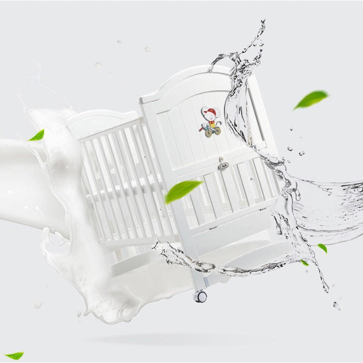 Giường Cũi Gỗ Trắng Đa Năng Cho Bé KUB - Điều Chỉnh Độ Cao - Mở Được 1 Bên