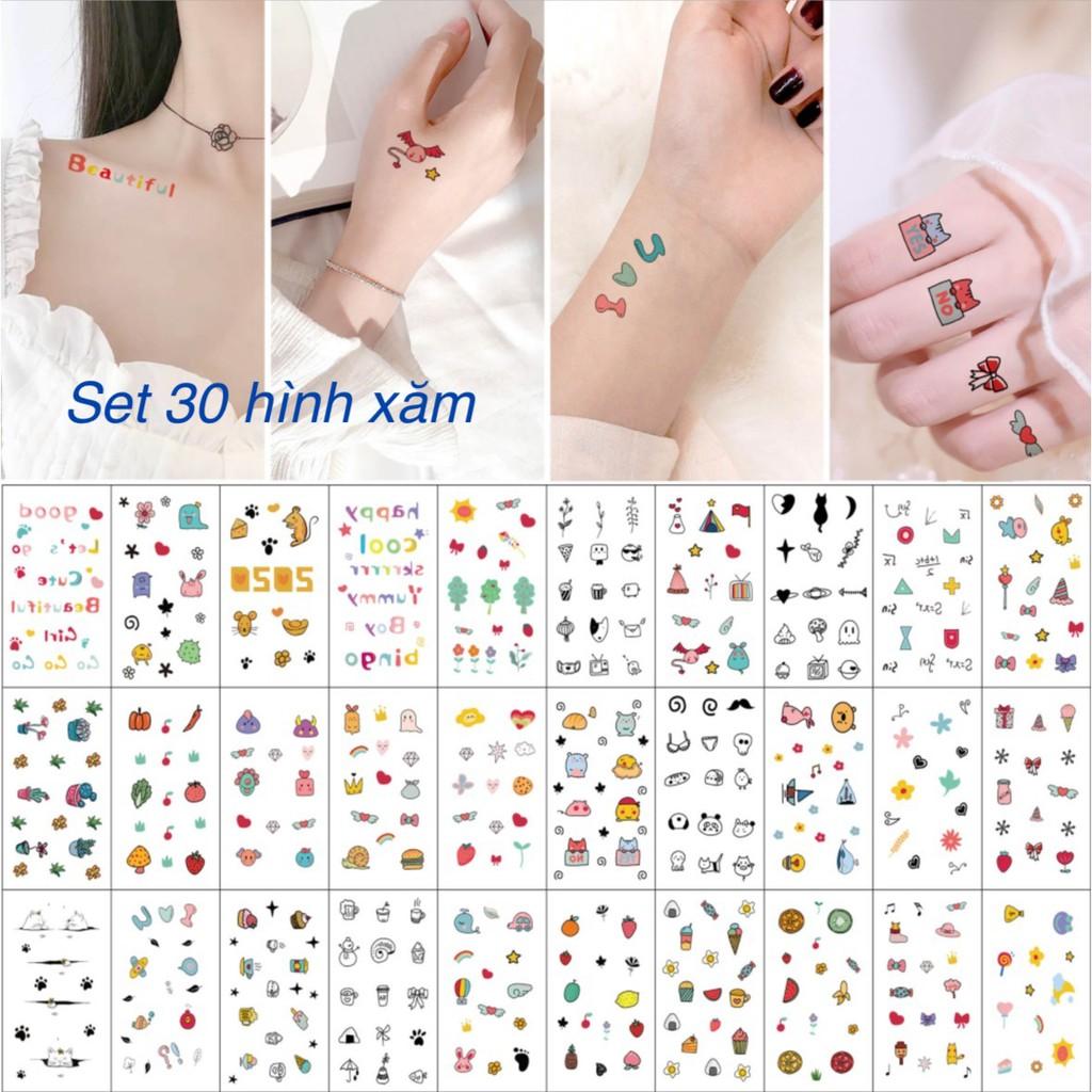 Combo 30 set hình xăm mini tattoo chống nước nguồn hàng buôn sỉ