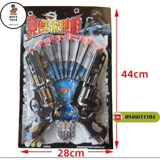 [Giá rẻ] Set 2 khẩu súng lục đồ chơi thi đấu súng đạn mềm hút dính – có bảng mục tiêu
