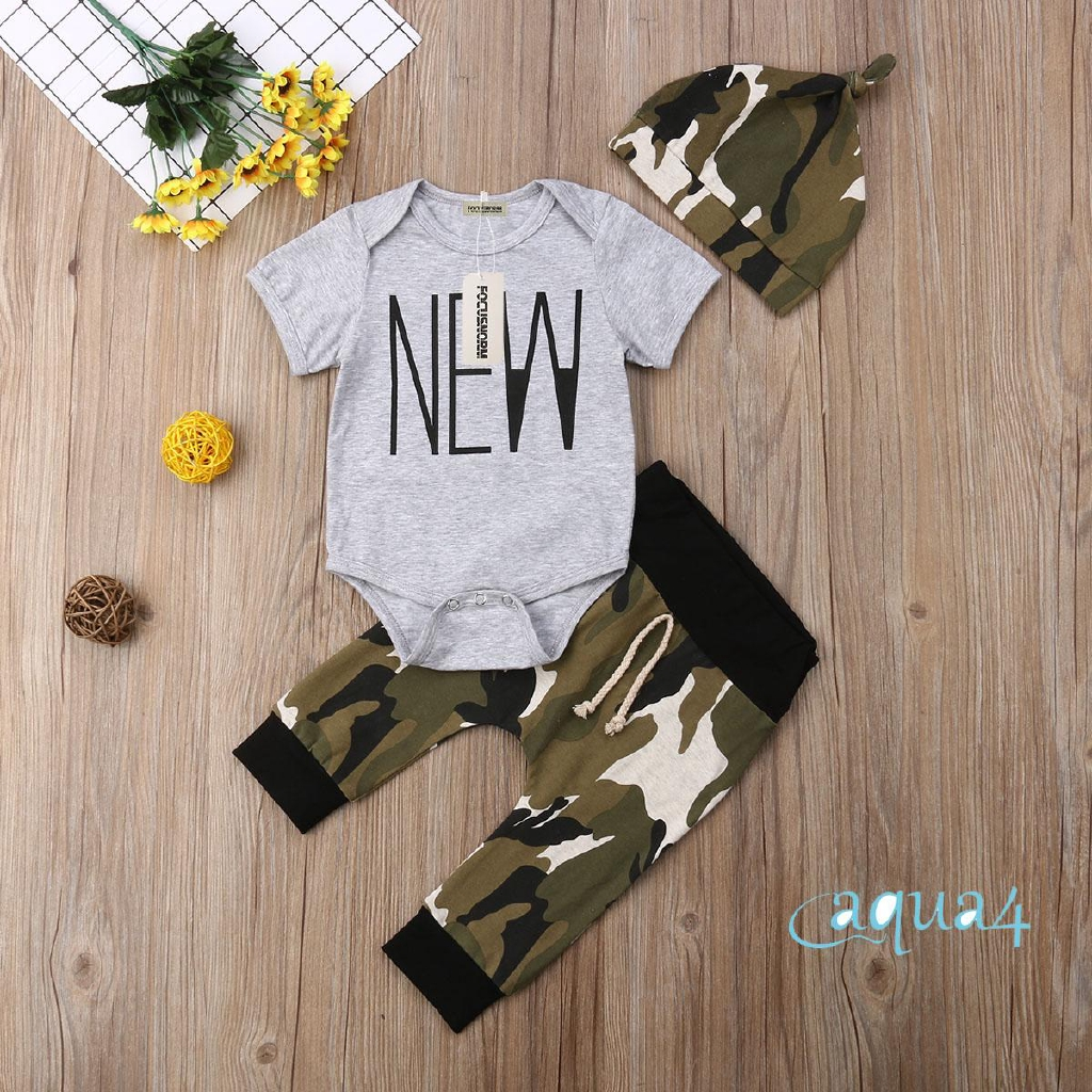 ♨♨-Newest Newborn Infant Baby Boy Short Sleeve Tops Romper+Camo Pants Hat Outfits Set