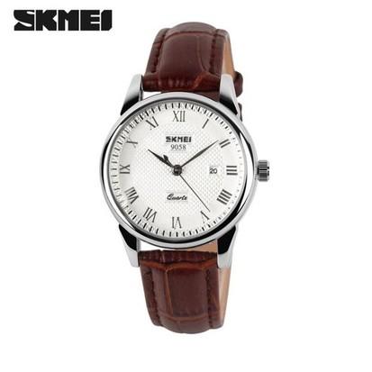 Đồng hồ nữ Skmei 9058 dây da nâu mặt trắng (có side nam)