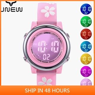 JNEW Đồng hồ dành cho trẻ em Cô gái hoạt hình Đồng hồ không thấm nước Đồng hồ điện tử LED thời trang mới của trẻ em