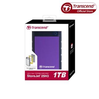 [Mã ELMALL300 giảm 7% đơn 500K] Ổ Cứng Di Động 1TB Transcend Rugged StoreJet® 25H3P Tím USB 3.0