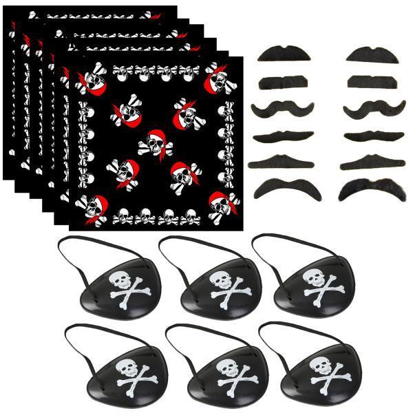 12PCS Beards + 6PCS Headscarf + 6PCS Eyepatch Pirate Captain Costume Supplies J