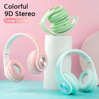 9D Stereo Wireless 5.0 Bluetooth Headphone LED Colorful Light Headphone Support MIC FM TF Card thumbnail