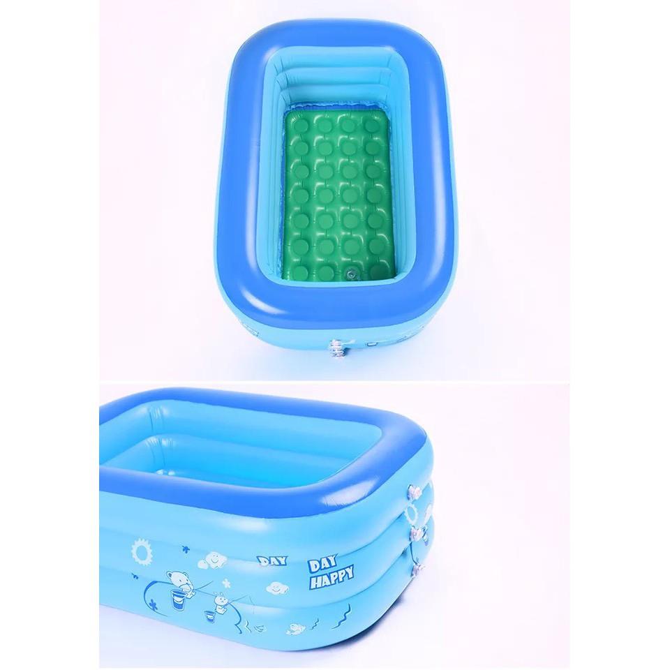 Bể bơi cho cả gia đình 3 tầng 130cm nhựa pvc loại 1 tặng kèm 1 bơm chân
