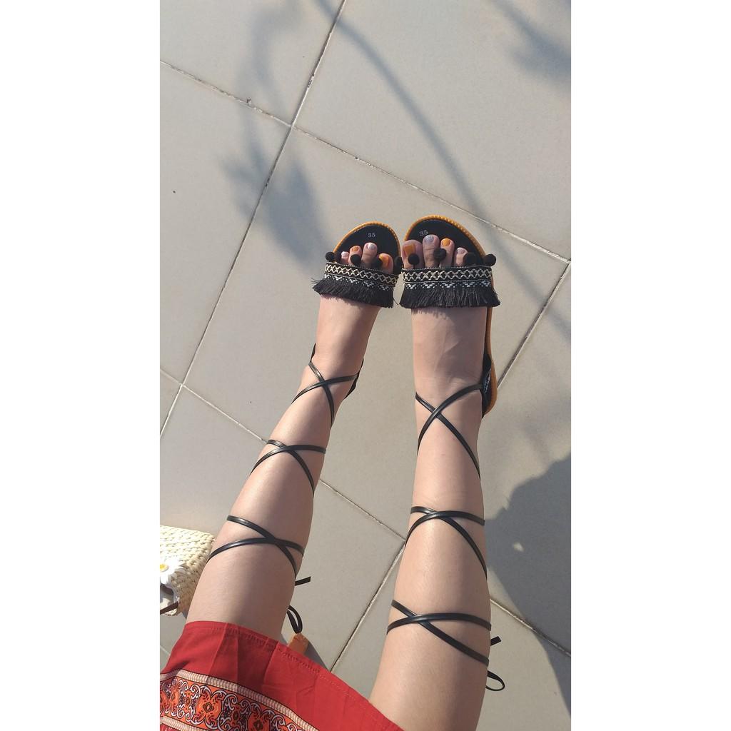 Giày Sandal Chiến Binh Boho Vintage mặc đi chơi biển, đi núi rất đẹp - T01 giá rẻ